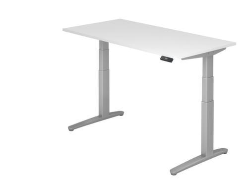 elektrisch hvst steh sitz schreibtisch hxbxt 650 1300x1600x800mm platte wei c fu silber. Black Bedroom Furniture Sets. Home Design Ideas
